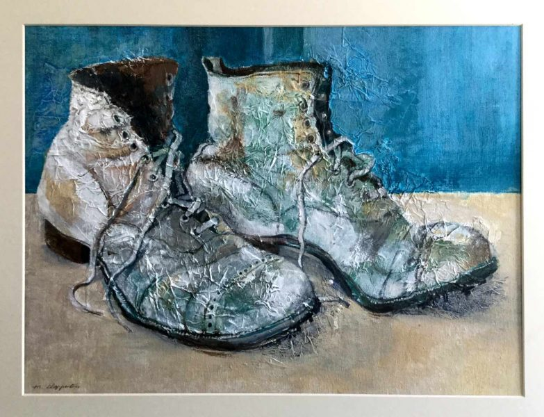 Grandpa's Old Crickey Boots - gesso and acrylic - Margaret Clapperton