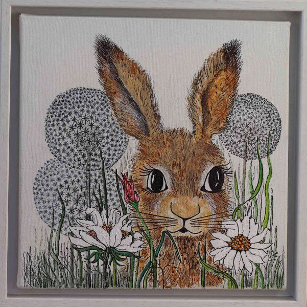 Hare & Flowers - mixed media - Jean Turner