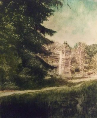 Weston Hall and Garden - drypoint - Brian Hindmarch